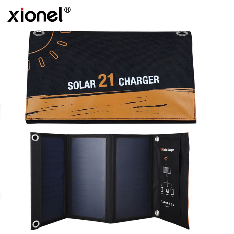 Xionel Dual USB Solar Charger, PowerPort Solar for iPhone 7 / 6s / Plus,Samsung Galaxy S7 / S6 / Edge / Plus, Note 5