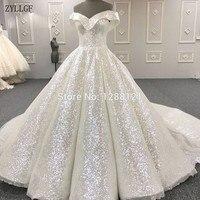 ZYLLGF Muslim Formal Evening Dresses Turkish Arabic Dubai Bling Unique Sequins Evening Gowns Dress For Party MC24