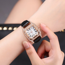 цены на High-end luxury new fashion trend square diamond female strap simple  Roman numeral water diamond English ladies bracelet  watch  в интернет-магазинах
