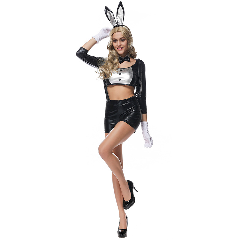 Woman Easter Bunny <font><b>Cos</b></font> <font><b>Sexy</b></font> Patent Leather Suit Halloween Cosplay Costumes Black Seductive Wear Top Suspender Shop Rabbit Ears image