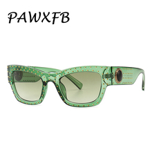 PAWXFB Fashion Sunglasses Women Brand Designer Gradient Frame Classic Rivet Shades Female Male Eyewear Summer Style