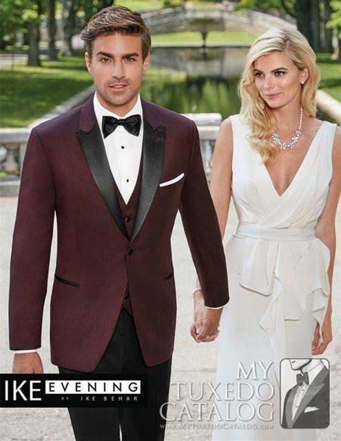 Borgoña tuxedo jacket hombres slin fit sangrar por encargo traje de baile trajes de novio traje de lana desgaste 2016