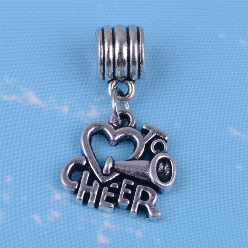 Cheerleader Sports Cheerleading Cheer Charm for European Bead Slide Bracelets