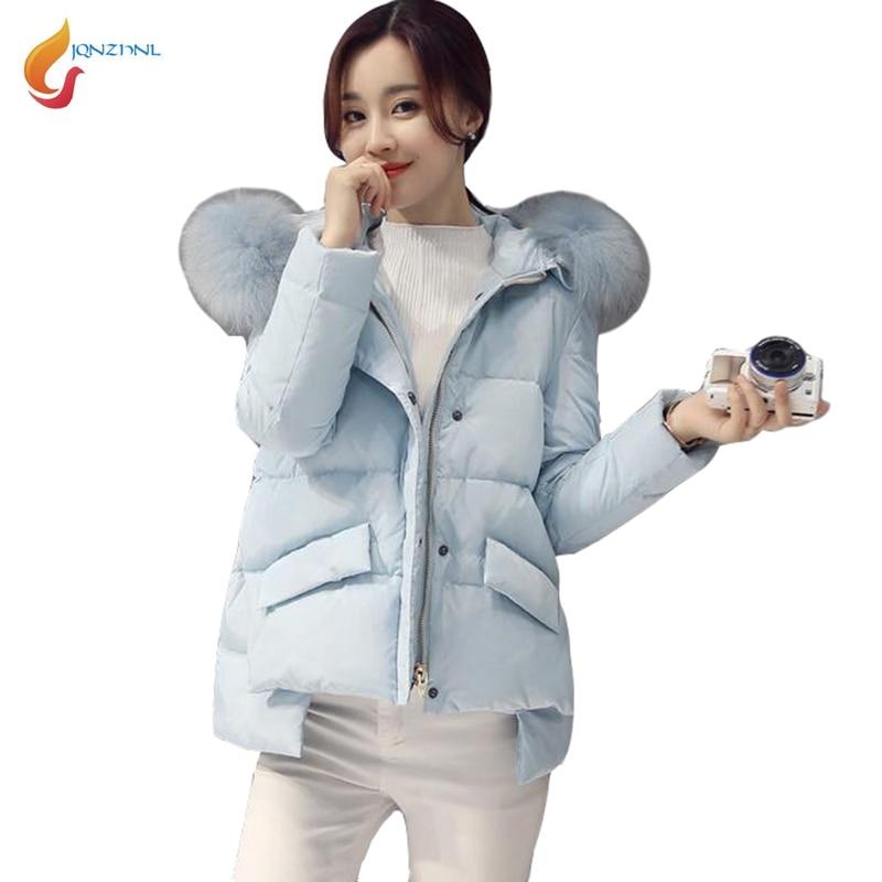 JQNZHNL 2017 New Winter Thicken Cotton Coats Women Big Fur Collar Hooded Casual Down Cotton Coats Outerwear Short Jackets L381