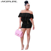 JYConline Plus Size Women Playsuits And Jumpsuit 2017 Two Pieces Set Women Ruffles Crop Top And