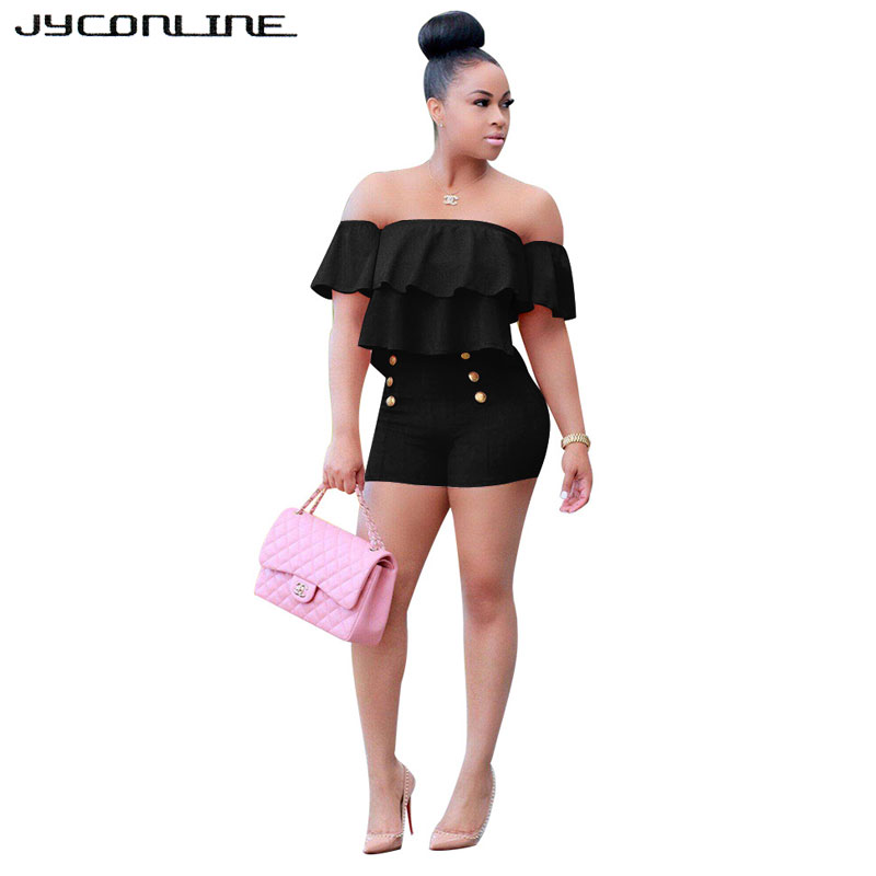 JYConline Plus Size Women Playsuits And Jumpsuit 2017 Two Pieces Set Women Ruffles Crop Top And Shorts Bodycon Bodysuit Overalls