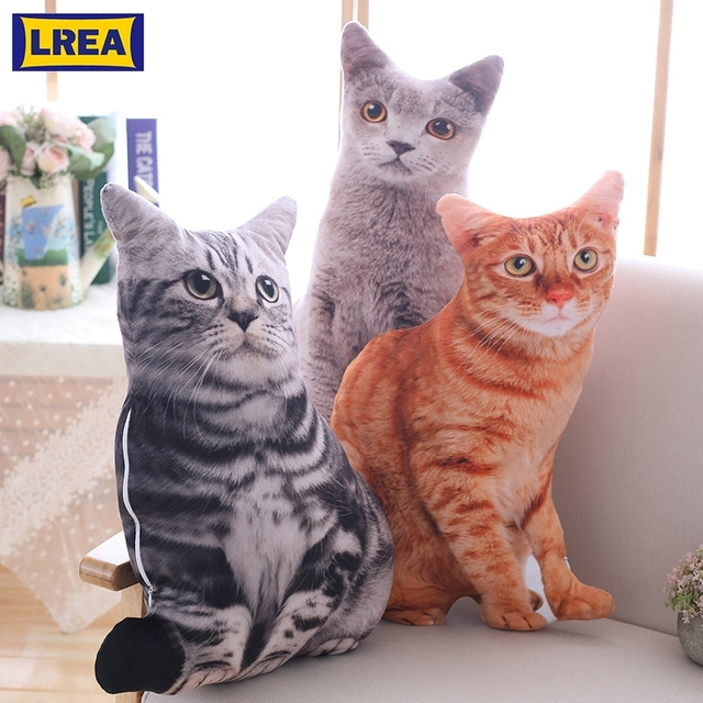 LREA New 50CM Creative Plush Toy Cute Expression Simulation Cat Pillow Bedroom Sofa Decorations Cushion