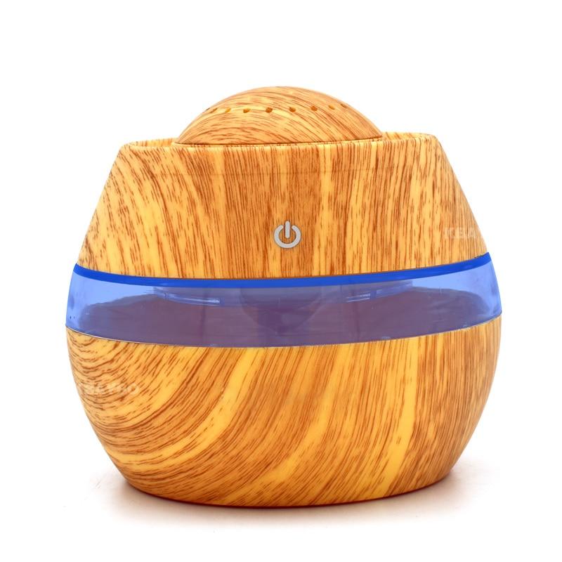 Bianco NEWKBO 300ml USB Aroma Olio Essenziale Diffusore Umidificatore ad Ultrasuoni con Venatura del Legno Elettrico Luci LED Diffusore di Aroma per la Casa