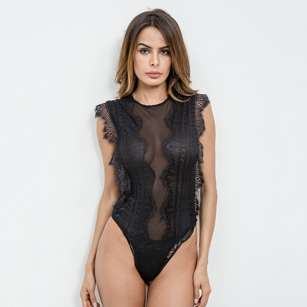 Lace Patchwork Bodysuit Black Sexy Slim Women Club Skinny Jumpsuit