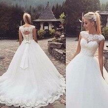 Fansmile 2020 Lange Zug Vestido De Noiva Spitze Kleider Hochzeit Kleider Sleeve Custom made Plus Größe Braut Tüll Mariage FSM 544T
