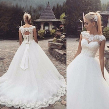 Fansmile 2020 롱 트레인 Vestido De Noiva 레이스 가운 웨딩 드레스 슬리브 맞춤형 플러스 사이즈 Bridal Tulle Mariage FSM 544T