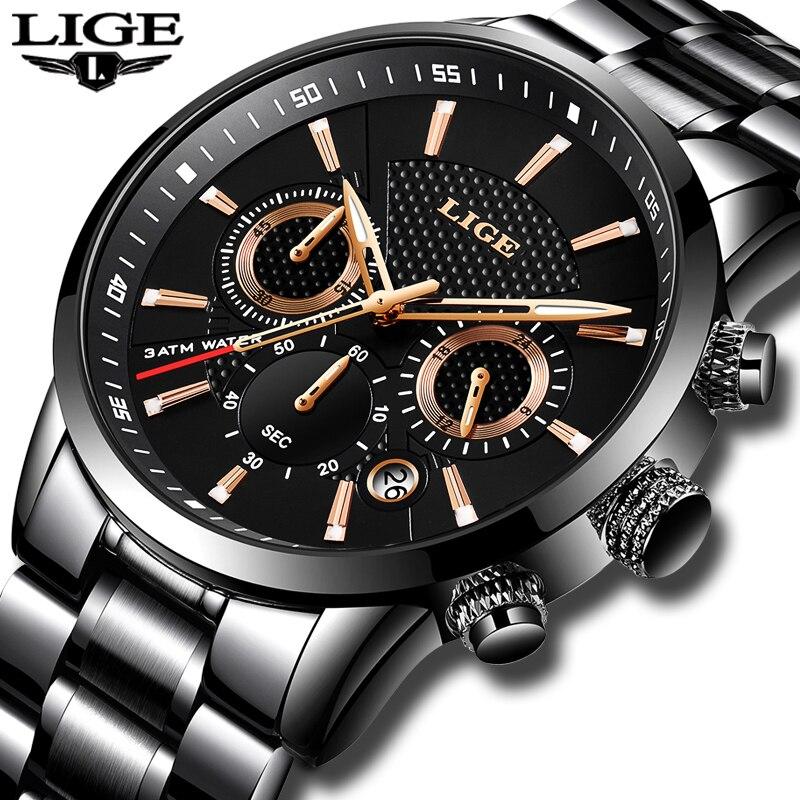 Herren Uhren Top Brand Luxus LIGE Wasserdicht Militär Sport Uhr Edelstahl Multi-funktion Quarzuhr Relogio Masculino