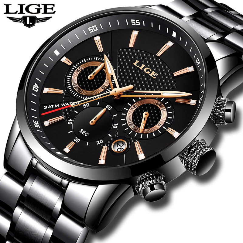 Mens Watches Top Brand Luxury LIGE Waterproof Military Sport Watch Stainless Steel Multi-function Quartz Clock Relogio Masculino