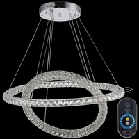 Dimmable Modern Brief Led Crystal Pendant Light Circle Stainless Steel Restaurant Lamp Lighting Lamps CE FCC