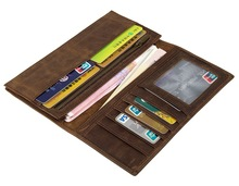 Genuine Crazy Horse Leather Long Purse Card Holder Wallets Male Fashion Slots Wallet 8100R