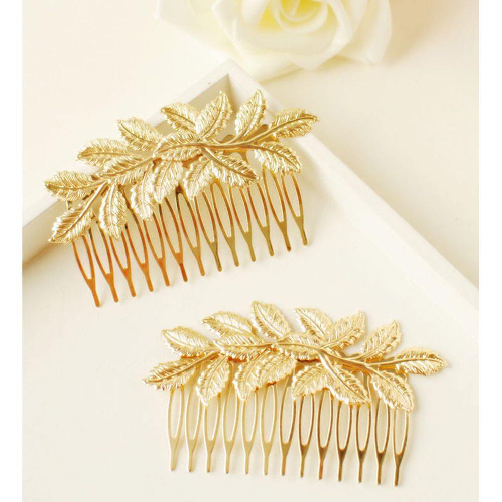1pcs Fashion Punk Women Girls Gold Leaf Hair Comb Hair Clip Jewelry Cuddly Gold