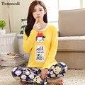 Pijamas para las mujeres de primavera y otoño niña ropa de dormir de algodón Pijama de manga larga pijamas de dibujos animados salón informal de las mujeres conjunto