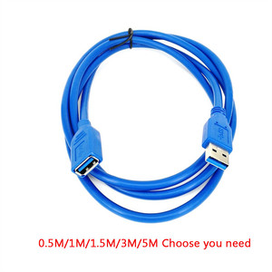 USB Extension Cable 0.5/1/1.5/3/5M USB 3.0 Male to Female durable Extension Data Sync Cord Cable 5Gbps #12 Data Line Blue(China)