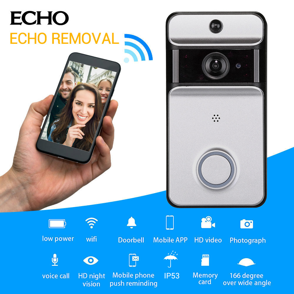 цены Smart WiFi Security DoorBell with Visual Recording Low Power Consumption Remote Home Monitoring Night Vision Video Door Phone