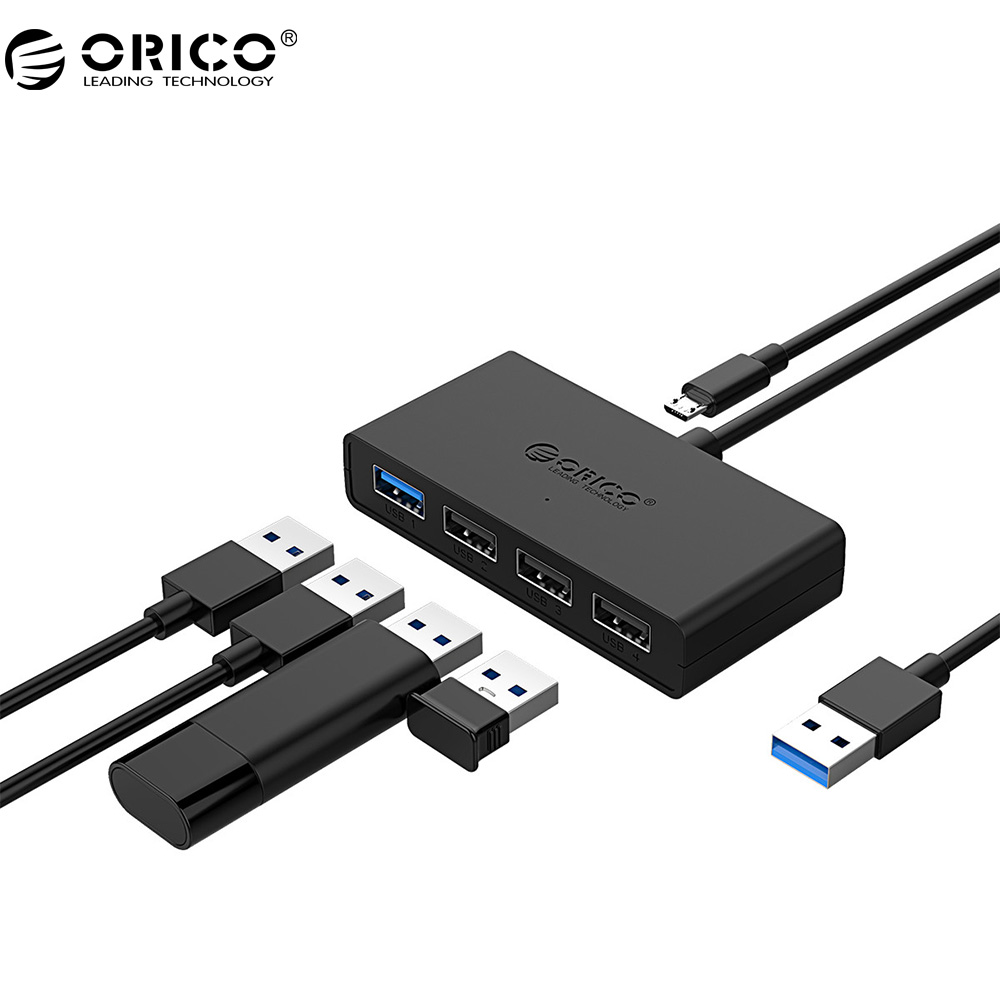 цена на ORICO USB2.0 *3 USB3.0 *1 Port HUB Super Speed USB Micro HUB Charging Hub OTG USB Splitter for Phone Macbook Laptop PC Tablet