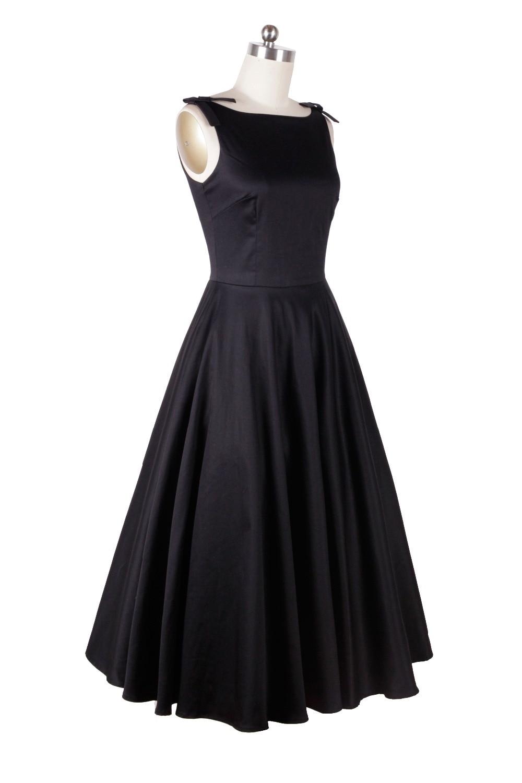 US $67.99 15% OFF|Audrey Hepburn styl vintage 50 s 60 s sukienki mała czarna sukienka bez rękawów, eleganckie na co dzień w stylu vintage sukienka