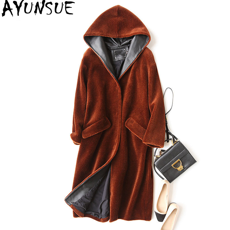 AYUNSUE 2018 Fashion Genuine Sheep Shearling Fur Coat Feamle Winter Jacket Women Natural Fur Coats Hooded Long Outerwear WYQ905 ...