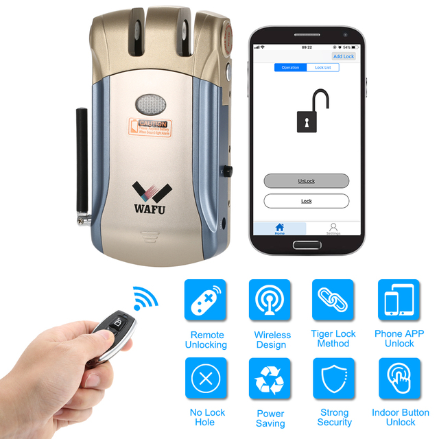 WAFU WF-008U Remote Control Intelligent Electronic Lock Invisible Keyless Entry Door Lock APP Unlocking with 4Remote Controllers