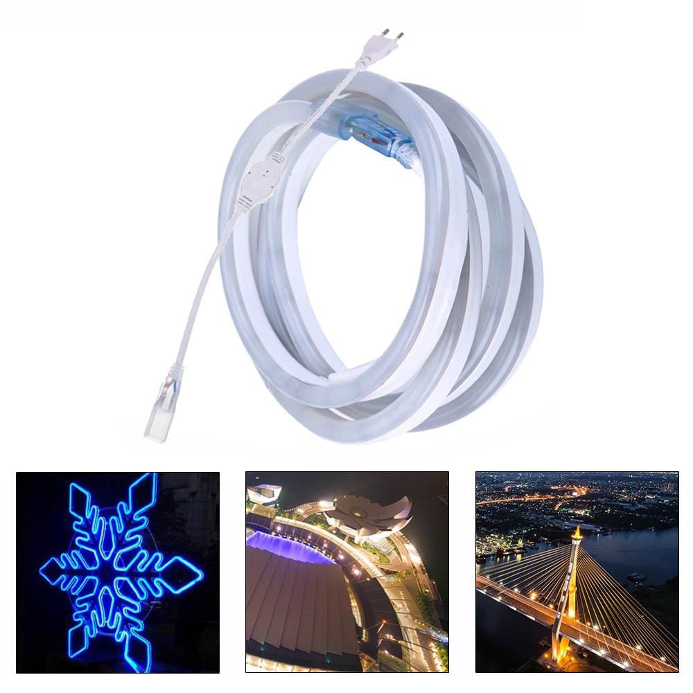 YWXLight 2835SMD 5M LED Flexible Strip Light 220V LED Neon Flex Tube 120LED Waterproof Home Outdoor LED Decorative Light Strip