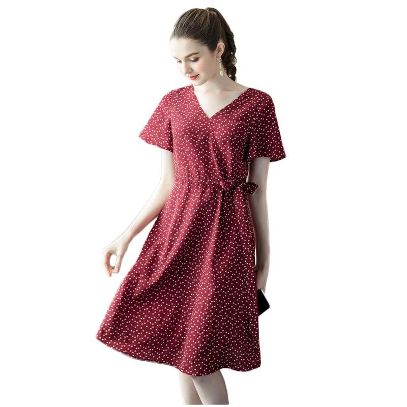 Grande taille femmes Dot robes Vintage élégant dame Vestidos 2019 nouveau été Sexy col en v lâche décontracté femme plage robe NW1780