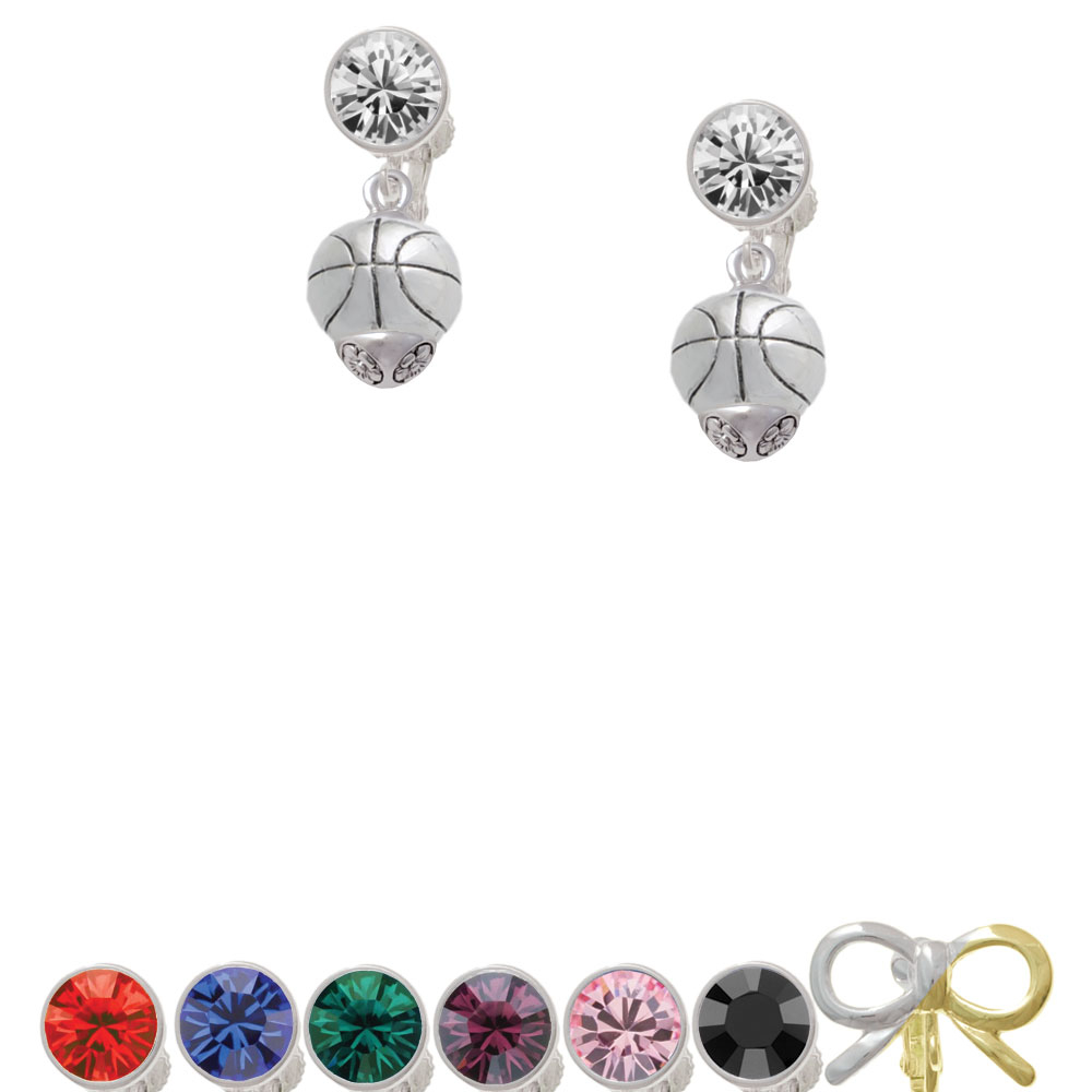 Antiqued Silver Tone Basketball Spinner Crystal Clip On Earrings dr jack on winning basketball