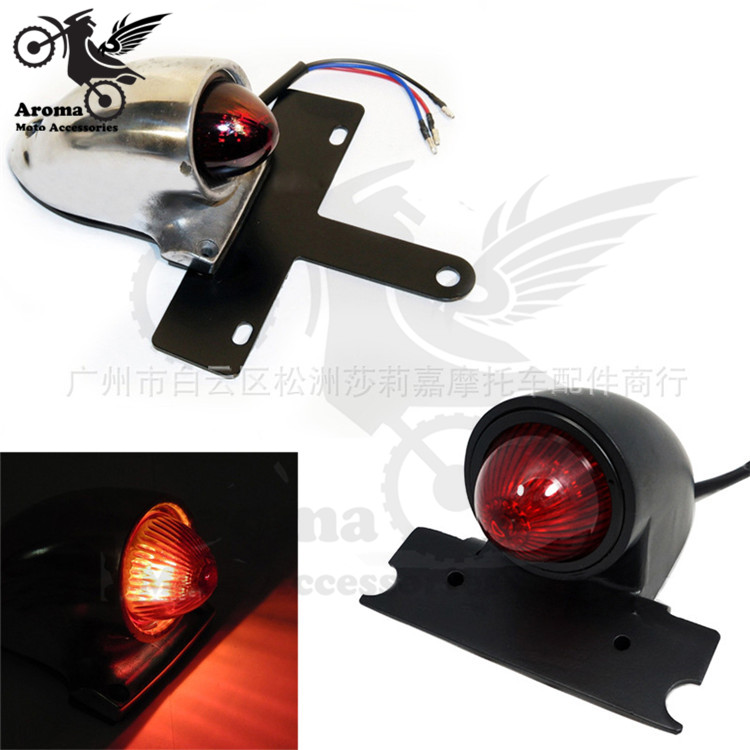 2 colors silver black motorcycle brake light for harley LED moto tail light indicator motorbike rear warning signal light parts