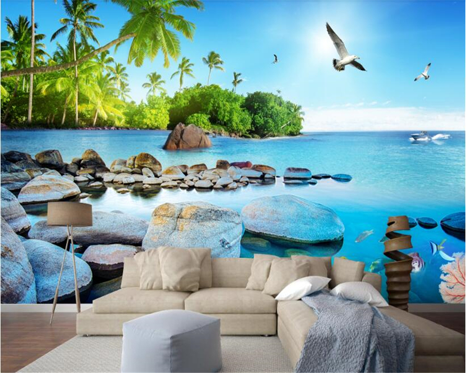 Beibehang Customize Any Size Super Hd Personality 3d Wallpaper Beautiful 3d Seaside Island Tv Background Wall Papers Home Decor Wallpapers Aliexpress