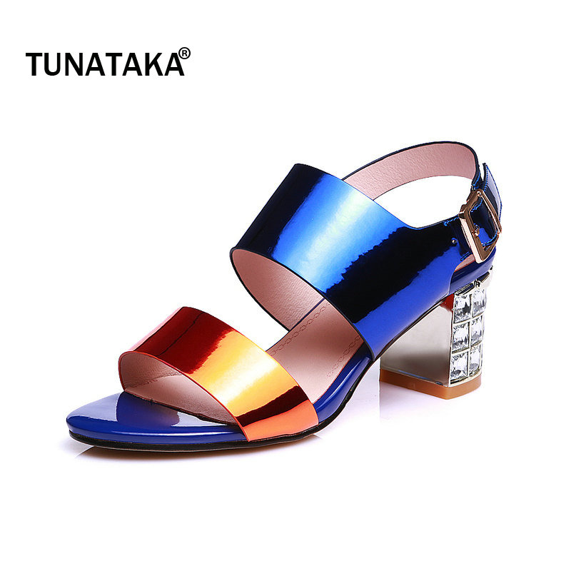 Genuine Leather Rhinestone Comfort Thick Heel Woman Sandals Fashion Buckle Party High Heel Shoes Open Toe Summer Woman Shoes colorful jelly shoes for woman high square thick transparent heel buckle casual style hot sale woman sandals free shipping