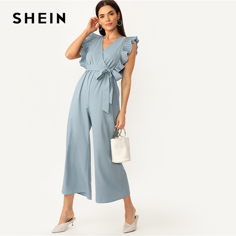 SHEIN Elegant Blue V Neck Pleated Ruffle Trim Wrap Wide Leg Belted Party Jumpsuit Women Summer 2019 Office Lady Solid Jumpsuits