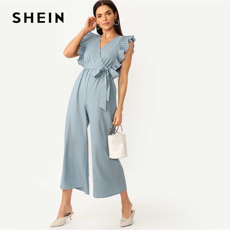 SHEIN Элегантный синий V шеи плиссированные оборки обёрточная бумага широкие ноги Поясом Вечерние Комбинезоны женские летние 2019 офисные женские однотонные комбинезоны