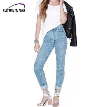 Pantalones vaqueros de cintura alta Vintage para mujer pantalones de mezclilla 2019 nuevos pantalones de lápiz ajustados Capris pantalones de señora Jeans de mujer más tamaño