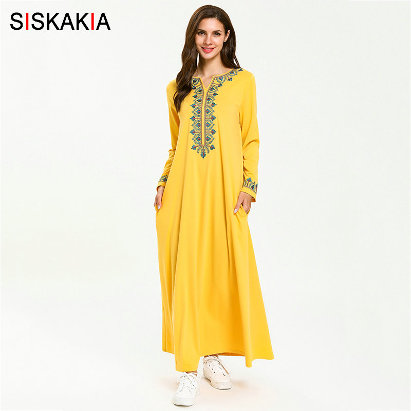 Siskakia Elegant Ethnic Geometric Embroidery Maxi Long Dress Draped Swing Round Neck Long Sleeve Casual Muslim