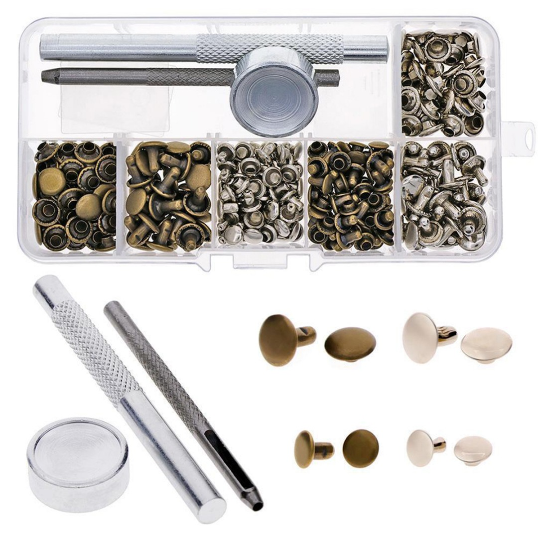 120 Set Leather Repairing Rivets Tubular Metal Single Silver Bronze Rivets with Fixing Tool Kit For Belts DIY Crafts Mayitr allen roth brinkley handsome oil rubbed bronze metal toothbrush holder