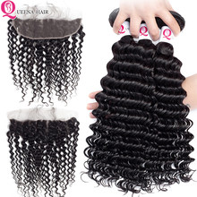 Cambodian Deep Wave Curly Human Hair Weave Bundles With Frontal Closure Remy Ear To Ear 13X4 Lace Frontal Closure With Bundles(China)