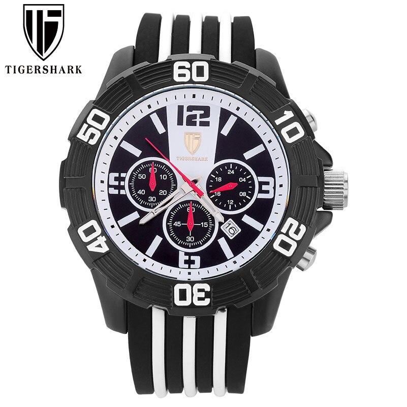 2016 new TIGERSHARK china brand watches men chronograph date 30M waterproof quartz analog white dial wristwatches