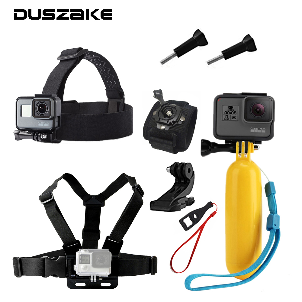 Accessories Set For Gopro Hero  Head Chest Mount Strap Floating Selfie
