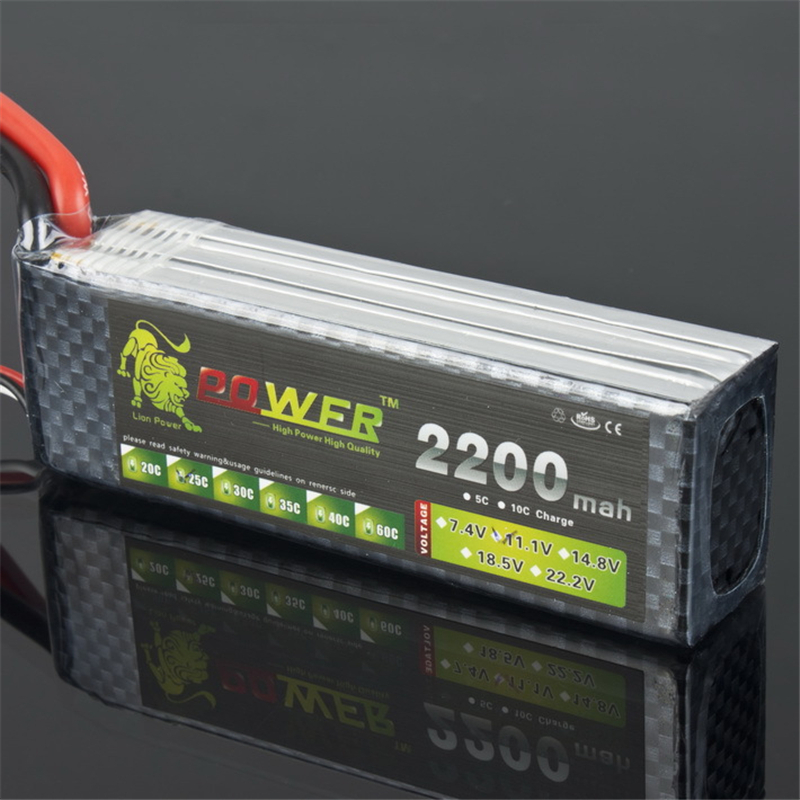 Lion Power Brand Battery <font><b>11.1V</b></font> <font><b>2200mAh</b></font> 30C MAX 35C T Plug for Airplane T-REX 450 Halicopter Part <font><b>11.1v</b></font> 3s bettary free shipping image