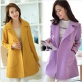 Nueva primavera 2017 señoras de las mujeres de doble Botonadura de lana capa larga de algodón básica femenina floja Elegante femenina Abrigo Chaquetas Abrigos