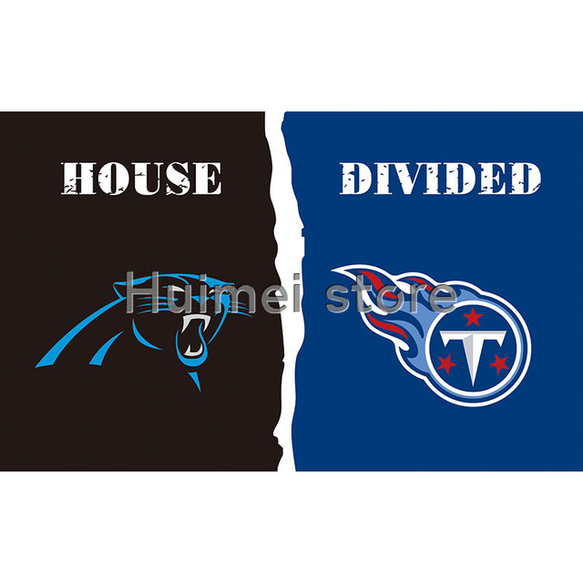 421421a9 house divided one side digital print polyester Carolina Panthers flag VS  Tennessee Titans flag