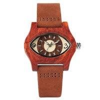 Fajne Dziewczyny Zegarek Twórczy Mahoń Drewna Egipski Oczy Horusa Przypadku Stylowe Kobiety Dorywczo Drewniane Zegarek Pasek Z Prawdziwej Skóry