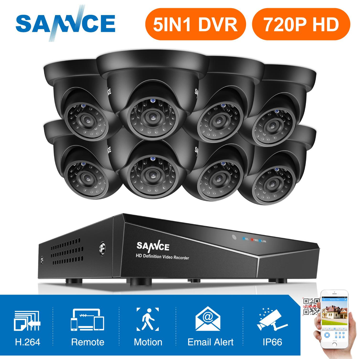SANNCE 8CH 1080N DVR 1080P HDMI NVR CCTV System 8pcs 720P TVI Security Cameras IR Indoor