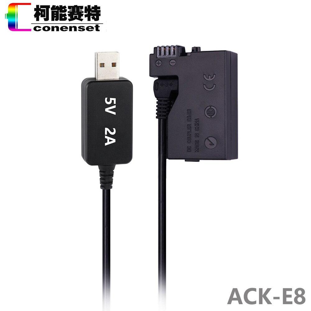 DC Power AC Adapter ACK-E8 ACKE8 DR-E8 LP-E8 para Canon EOS Rebel T2i T3i T4i T5i 550D 600D 650D 700D beso X4 X5 X6i DSLR Cámara