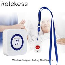 Retekess Wireless Caregiver Calling Alert System Elderly patient emergency call SOS Button + Receiver for household nursing home