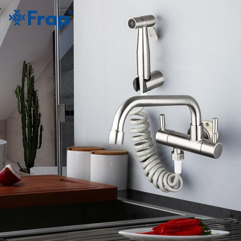 Robinet de cuisine FRAP mural 304 en acier inoxydable mélangeur de cuisine robinet robinets d'eau froide robinet bidet mélangeur