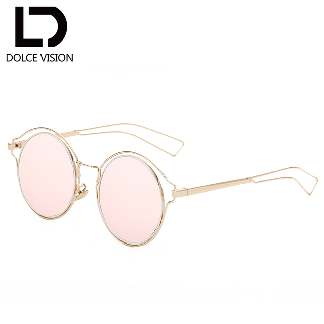 a7cfaac68a DOLCE VISION Pink Round Mirror Sunglasses Women Gold Frame Brand Design  Oversized Sun Glasses For Women Shades Female UV400